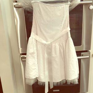 Jessica McClintock size 14 white strapless dress